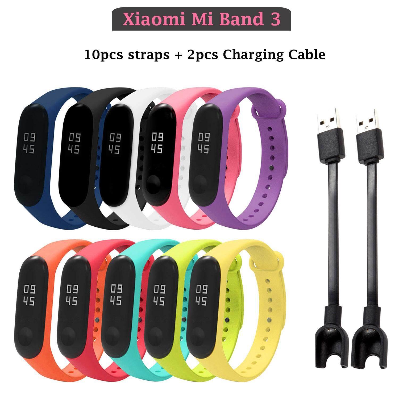 10pcs Assorted Colors Replacement Watch Wrist Strap Bracelet Band + 2pcs USB Charger Charging Cables Compatible