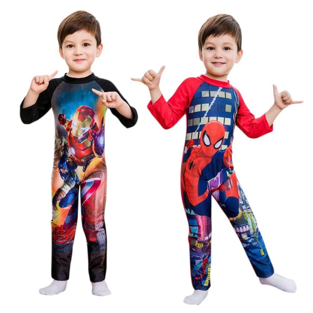 Kartun Anak Laki-laki Anak-anak Pakaian Renang Baju Renang Bayi Lengan Panjang Baju