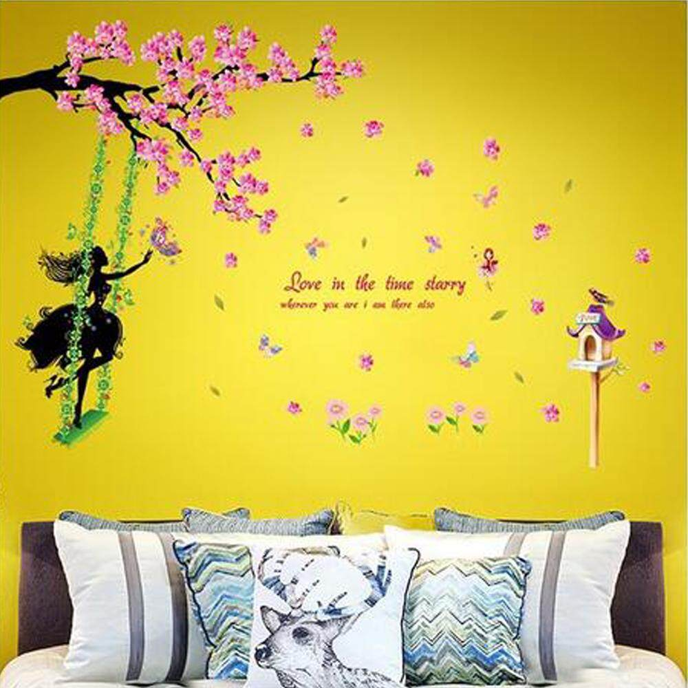 Remarkable Review Swing Girl Flowers Tree Wall Stickers Removable Wall Download Free Architecture Designs Rallybritishbridgeorg