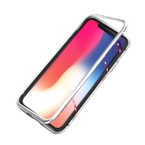 Magnetic Magnet Logam Seri Bingkai Adsorpsi Magnetik Satu Detik Pembongkaran Kaca Antigores Permukaan Casing Handphone untuk iPhone X (Putih)