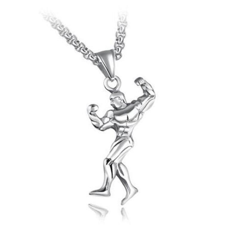 Binaragawan Otot Pria Kalung Baja Titanium Kepribadian Fashion Liontin Kebugaran Perhiasan untuk Pria
