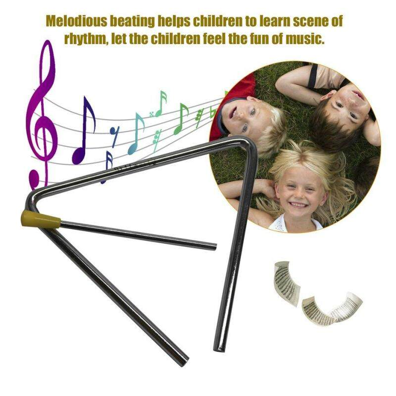 BELLE Metal Triangle With Stick Rhythm Early Education Percussion Instrument Toy Silver