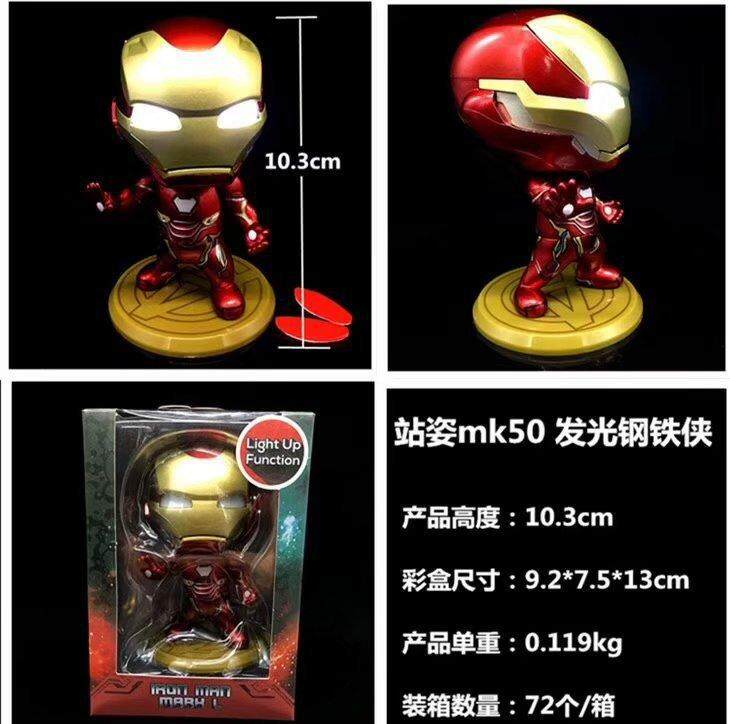 Anime Avengers 3 Iron Man Mk50 Iron Man Mobil Gemetar Lampu Utama Kotak Telur Tangan Tidak