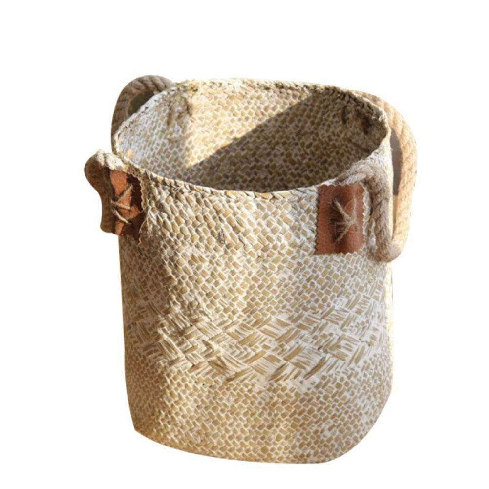 Wicker Weaving Storage Basket Basket Hamper Holder Sundries Organizer Laundry Seagrass Toys Holder Loaf Container Foldable