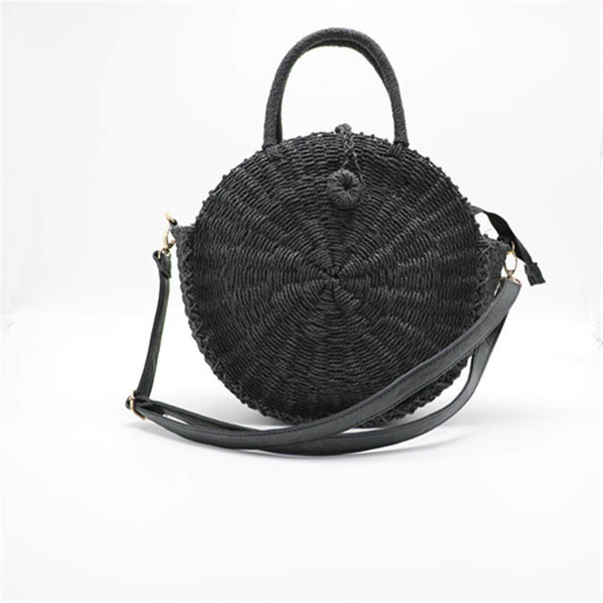 Where To Shop For 2018 Women Handmade Round Beach Shoulder Bag Bali Circle Straw Bags Summer Woven Black Intl