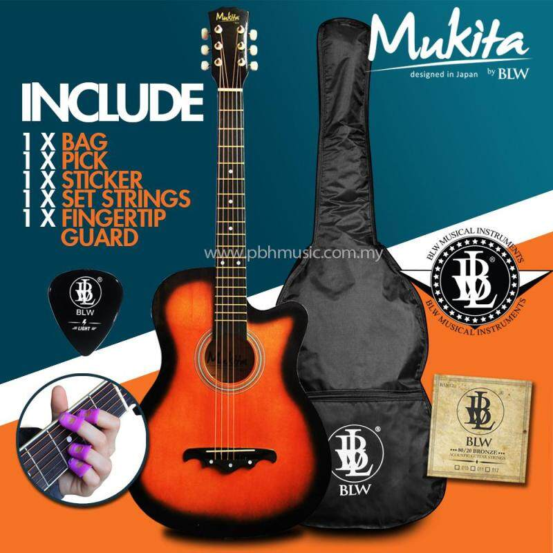 Mukita by BLW Standard Acoustic Folk Cutaway Basic Guitar Package 38 Inch for beginners with Bag, String Set, Fingertip Guard, Pick and Merchandise Sticker (Sunburst) Malaysia