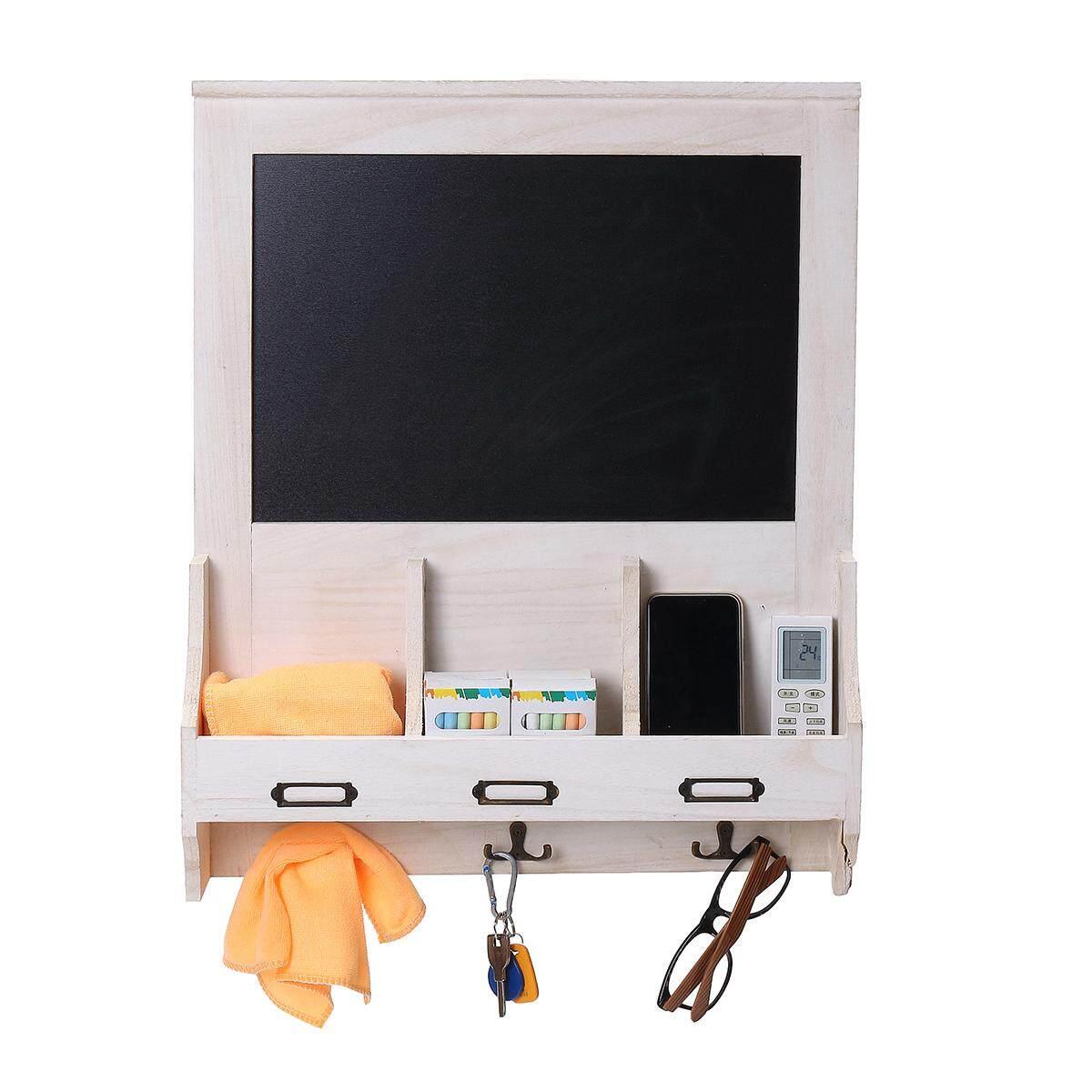 Shabby Chic Blackboard Vintage Chalk Board Wooden Notice Hooks Post Key Storage White - intl