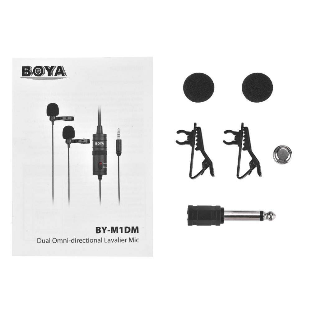 Features Boya Dual Head Clip On Lavalier Condenser Microphone For By M1 Mic Canon Nikon Sony Dslr Camera Kamera Universal Video Camcorder Iphone Cameras Cell Phones