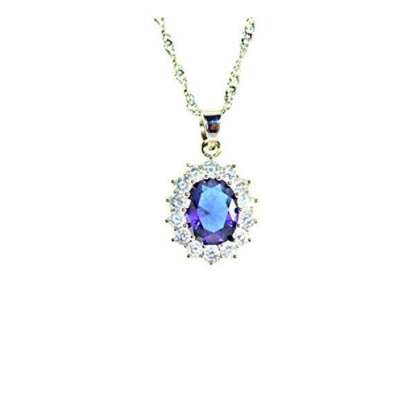 Blue sapphire Princess Diana/ Kate Middleton necklace (Blue) - intl