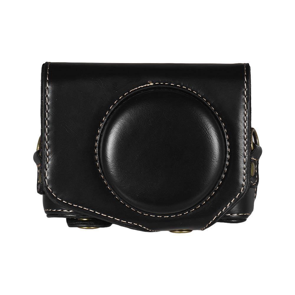ราคาดีที่สุด Leather Camera Case Bag with Strap for Canon Powershot G7 X Mark II G7X II Camera Coffee ล่าสุด