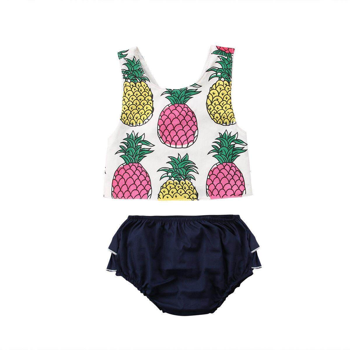 cd2d4cbf2 Fashion Baby Girls Summer Clothes Costume 2 Pieces Sleeveless Pineapple  Criss-cross Back Tank Tops