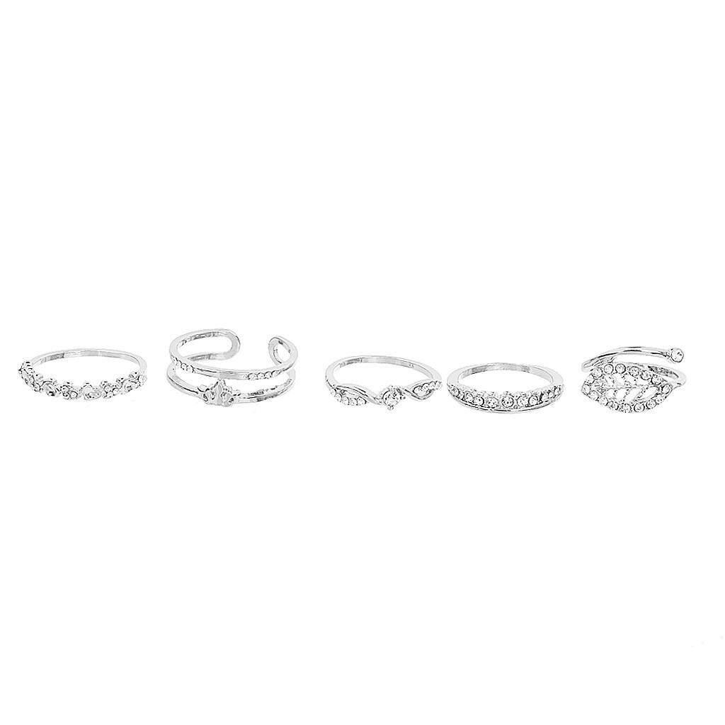Bolehdeals Set Of 5pcs Diamond Ring Sets Charming Crystal Parties Fashion Design Gift By Bolehdeals