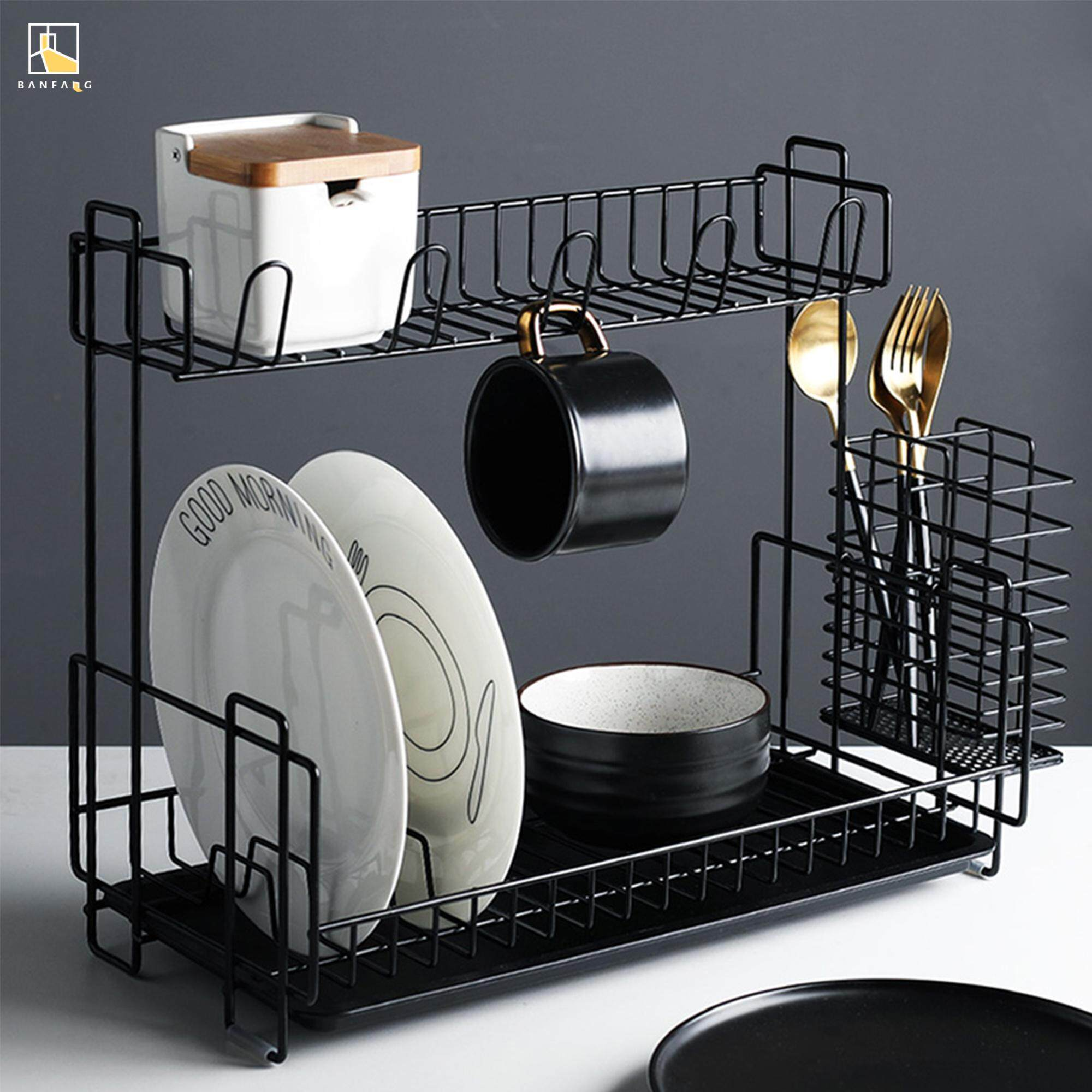 BANFANG Multi-function iron art waterboard free shipping dish rack kitchen cabinet storage rack lunch box rack kitchen rak pinggan dish drainer shelf rack kitchen storage cake stand stainless steel kitchen rack food container cake mould dish drying rack s