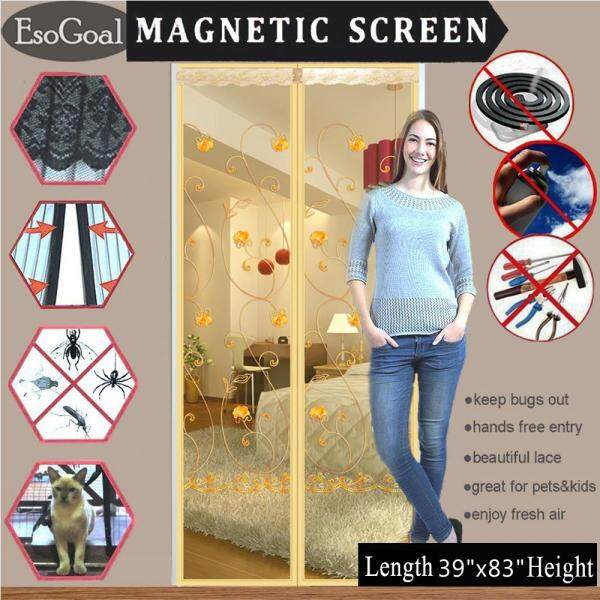 EsoGoal Screen Door with Heavy Duty Mesh Curtain and Full   Frame Velcro Keep Bugs Out,Let Fresh Air In.Screen Door Mesh Is Bulit   Tough,Close Automaticlly (39  X 83 / 100 x 210cm)