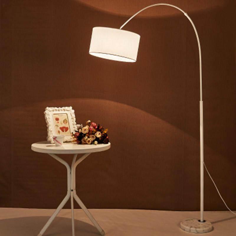 Nordic modern stainless steel fabric floor lamp for living room bedroom bedside fishing lamp black white vertical lamp 220V