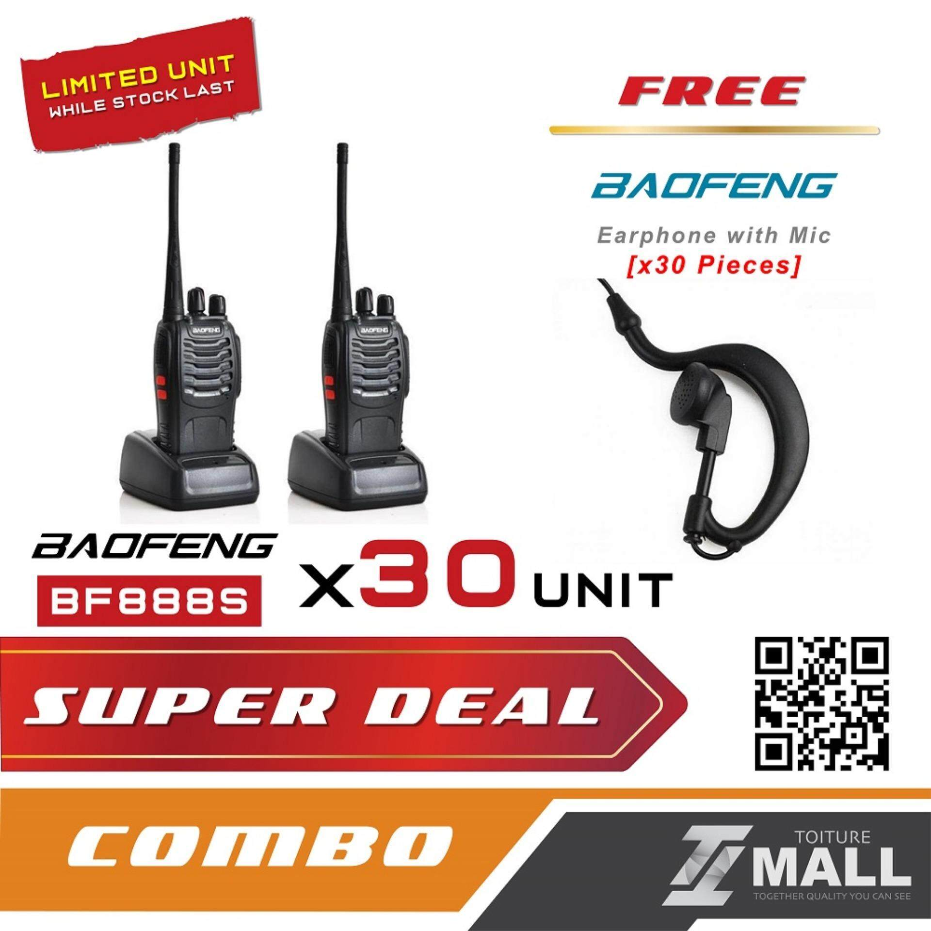BAOFENG BF-888S Walkie Talkie Two-way Portable CB Radio [30 UNIT] + FREE Earphone [30 UNIT]