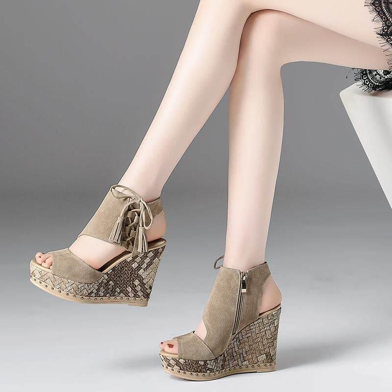 Akaduo Model Musim Panas hak wedges Sandal Summer Gaya Barat Casual  berongga Sol Tebal rumbai sepatu 7b6da9ecfc
