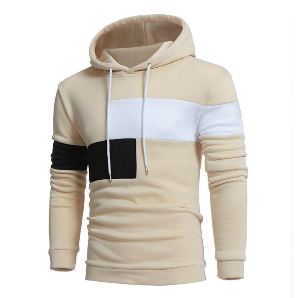Inesshop Men Long Sleeve Hoodie Stitching Color Coat Jacket Outwear Sport Tops - intl