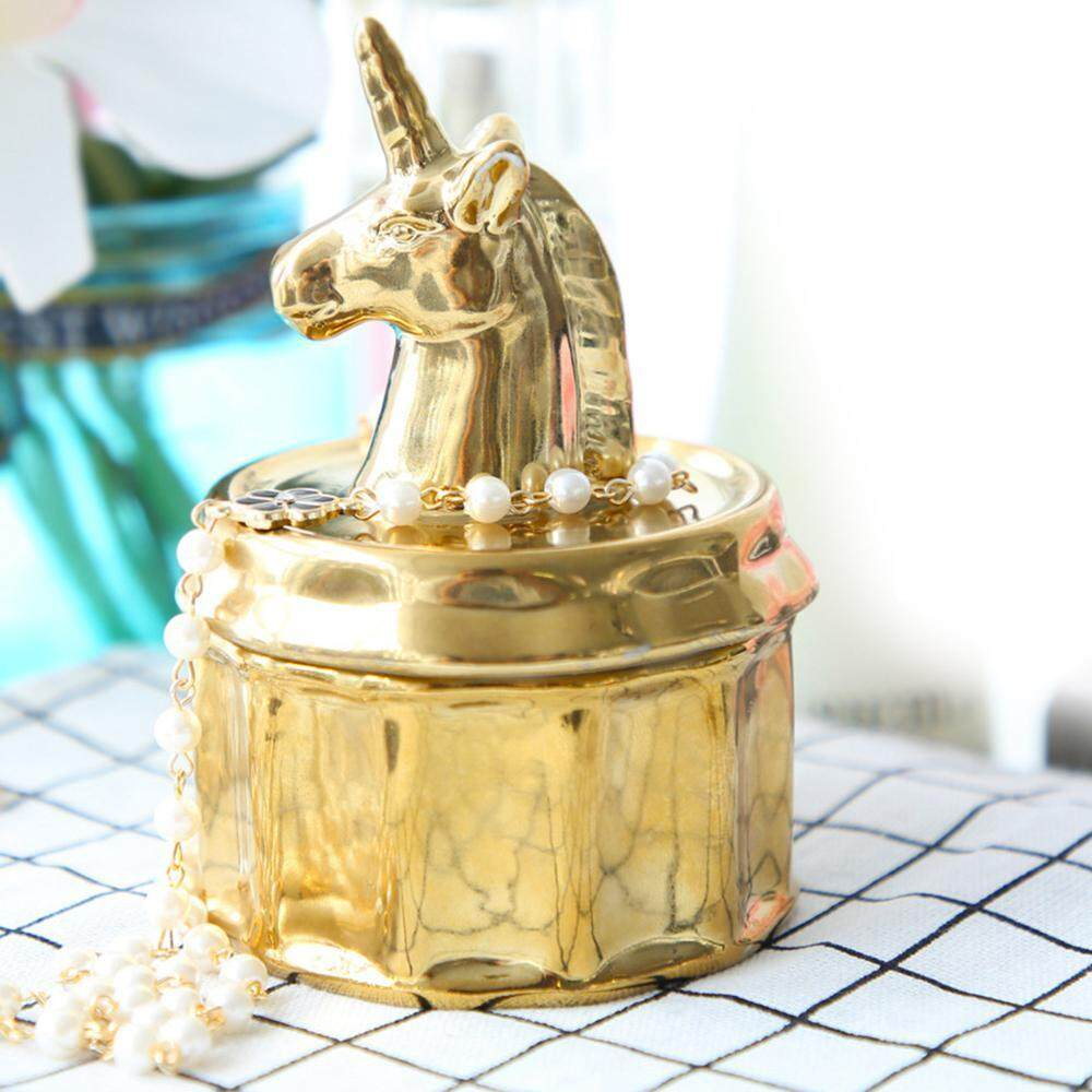 Umiwe Luxury plating gold Unicorn jewelry box ring necklace storage jar storage ornaments - intl