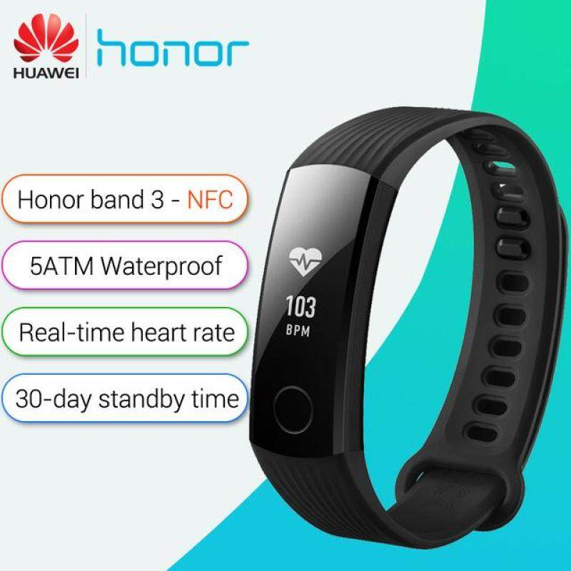 HUAWEI Honor Band 3 50 Meters Waterproof Smart Bracelet Heart Rate Monitor Blood Oxygen Monitor Calories Consumption Wristband Pedometer Fitness Tracker NFC Malaysia