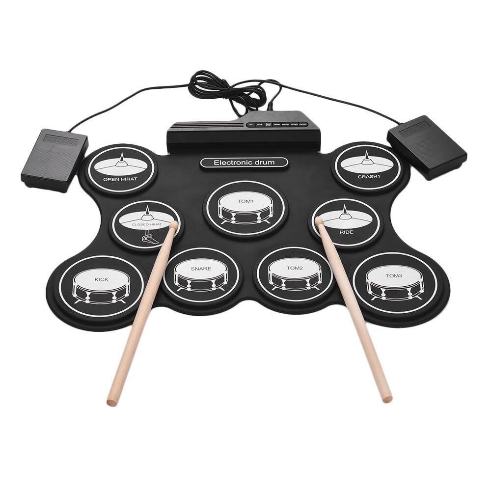 Portable USB Drum Gulung Atas Kit Digital Set Drum Elektronik 9 Silikon Drum Pad dengan Stik Drum Pedal Kaki untuk Anak-anak