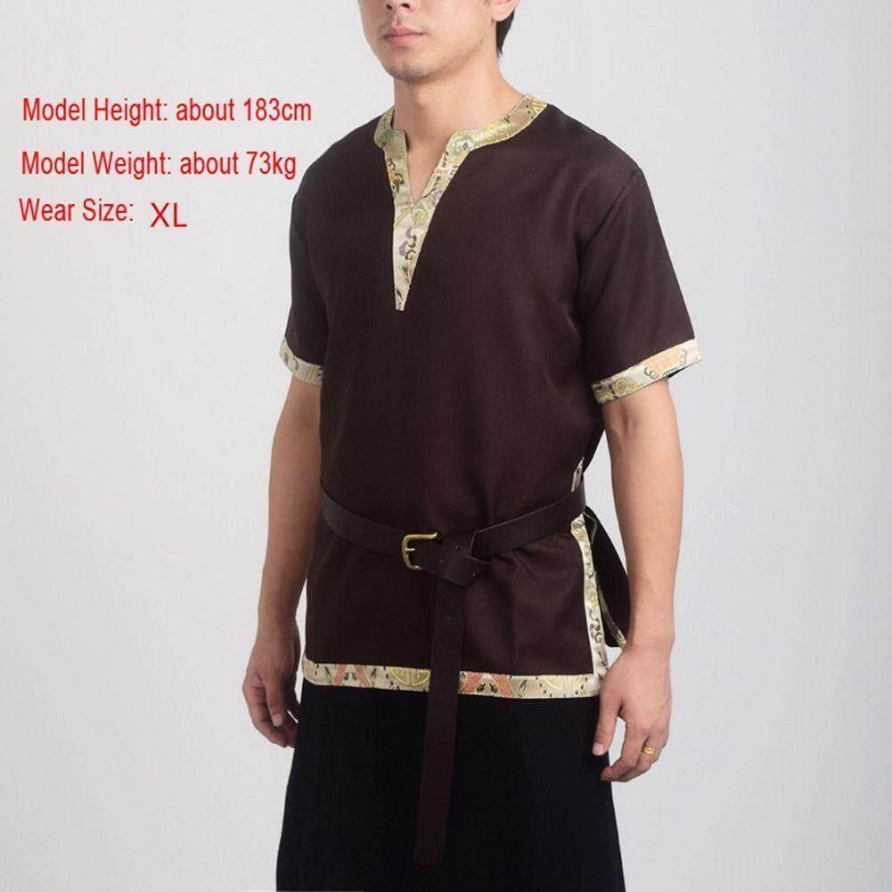 Hình ảnh Medieval Tunic Braided Renaissance Viking Norseman Aristocrat Shirt Chevalier Saxon Men Cosplay Top/Belt - intl