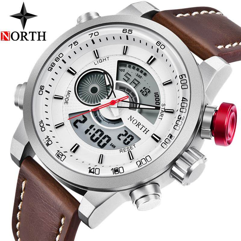 NORTH Mens Watches Top Brand Luxury LED Digital Quartz Sport Watch Men Leather Waterproof Military Wrist