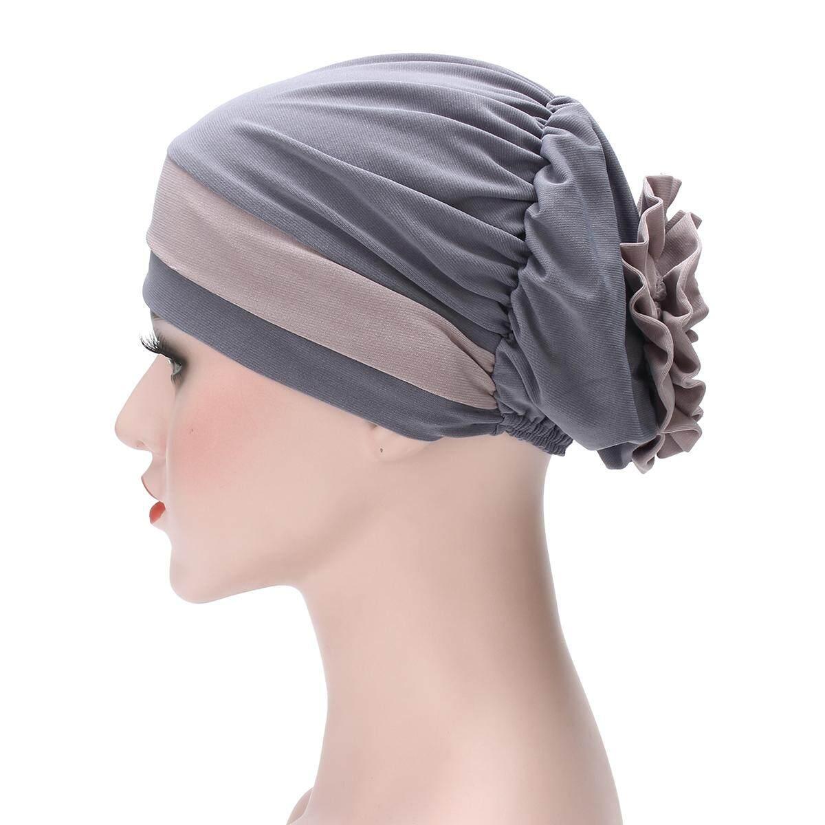 Muslim Flower Women Hijab Hat Islamic Headwrap Elastical Turban Hat Arab Cap 0eb3e453bad4