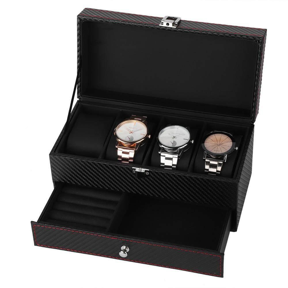 Double Jewelry Watch Earrings Rings Bracelet Necklace Box Organizer Storage Case - intl
