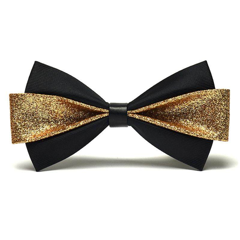 2018 High Quality Mens New Noble Gold Pu Leather Bowtie Fashion Mens Dazzling Gold Powder Butterfly Bowtie With Gift Box By Dongguan Sanfang Textile Co Ltd.