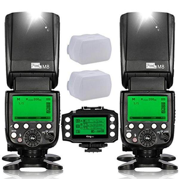 Pixel M8 2PCS GN60 High Performance Wireless Flash Speedlite Kit+Pixel King PRO Transceiver for Nikon D800 D700 D300 D200 D3 D90 D600 D3000 D5000 D7000 DSLR Cameras