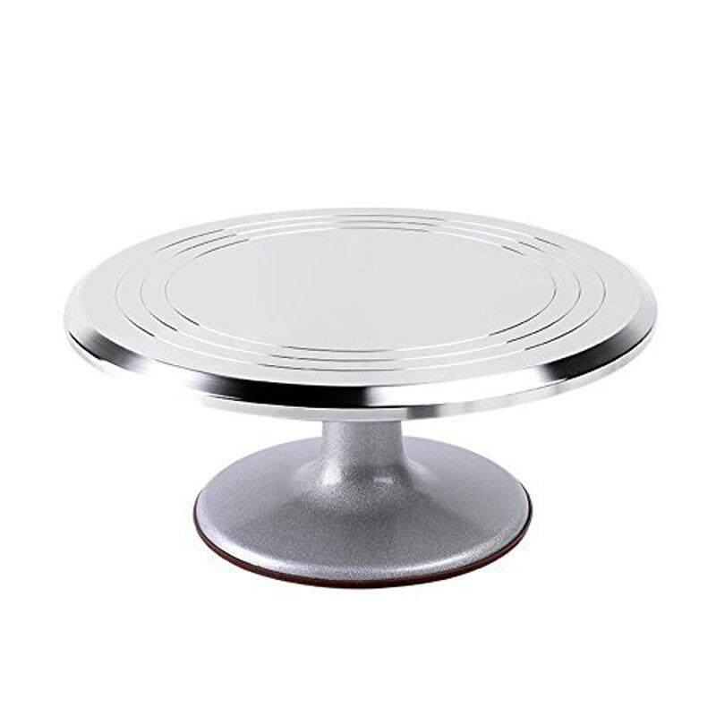 Qimiao 12 Inch Aluminum Alloy Decorative Cake Stand Professional Cake Turntable Cake Plate DIY Fondant Cake Tools Specification:Silver - intl