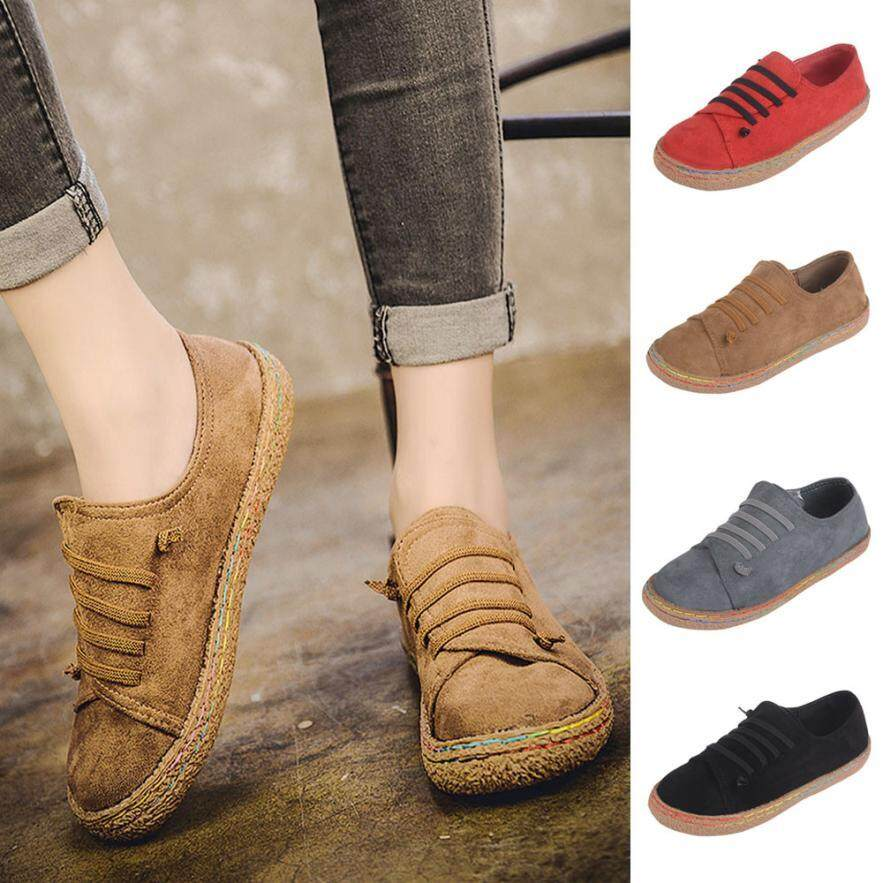 Feminine charm Women Ladies Soft Flat Ankle Single Shoes Female Suede Leather Lace-Up Boots