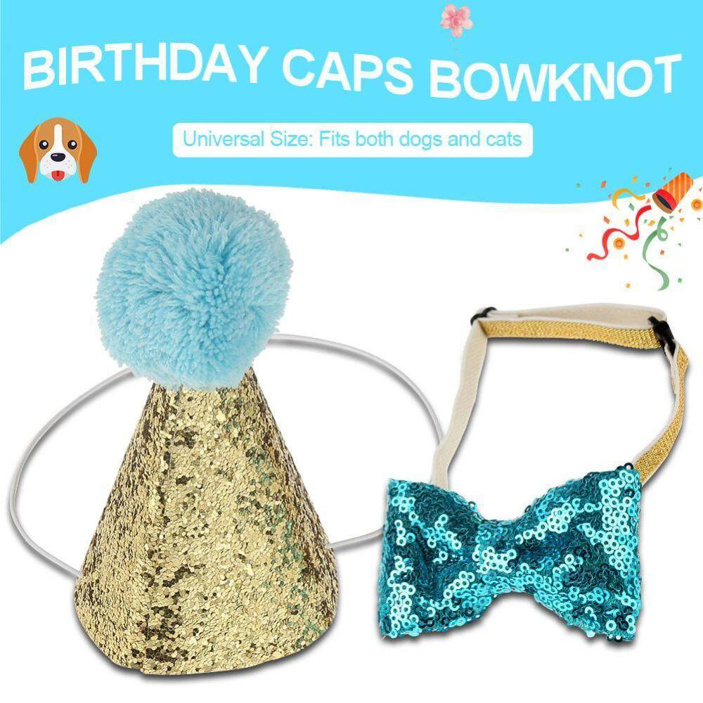 Cute Pet Cat Dog Birthday Caps Bowknot Party Costume Hat Headwear