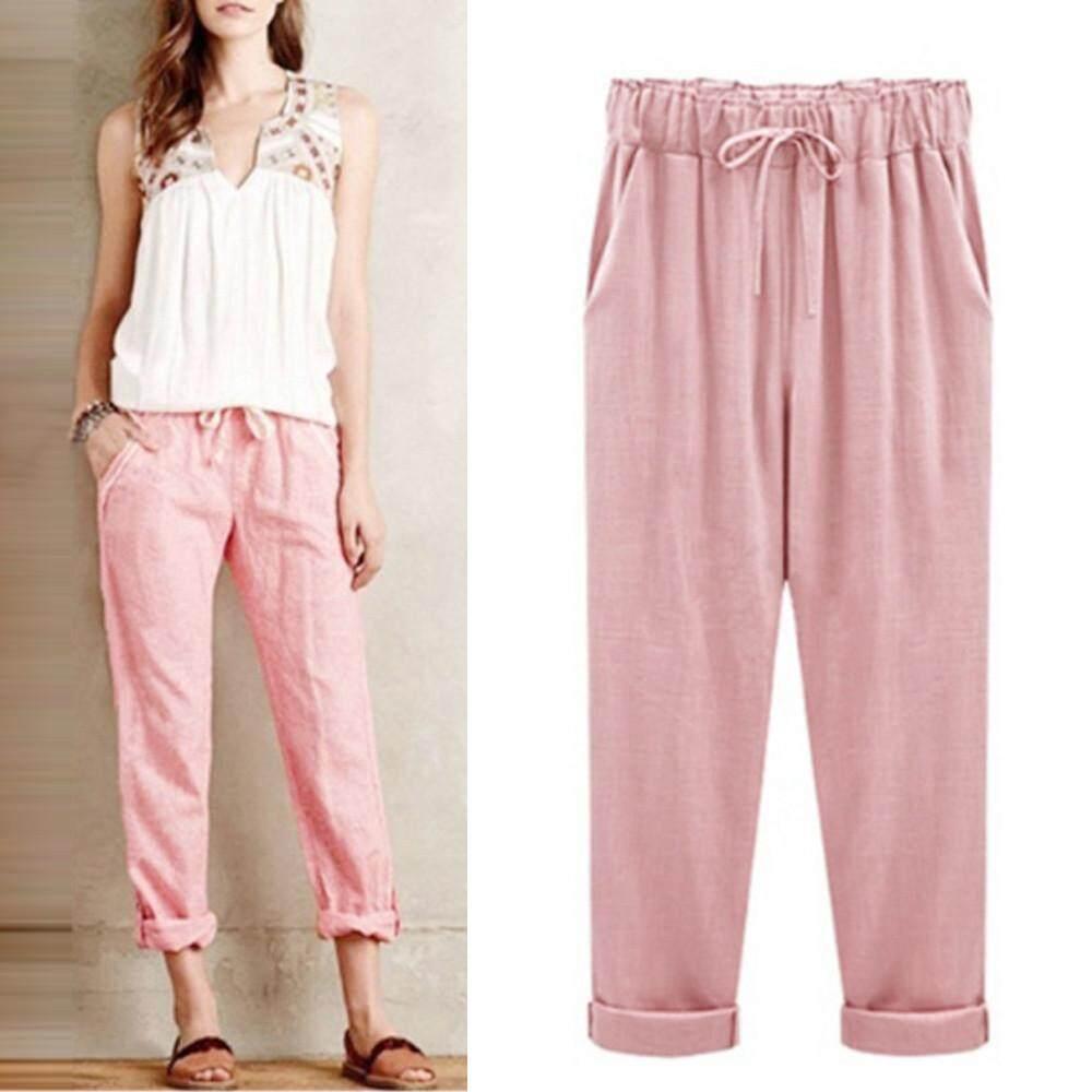 Watsonshop Free Shipping New Fashion Plus Size Casual Women Cotton Linen Pants Elastic Waist Summer Slim Lady Pants By Watsonshop.