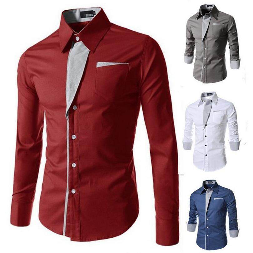 d7db60c8f0a Men Fashion Business Formal Wear Shirt Long Sleeve Polo Collar Comfortable  Breathable Casual Wear Slim Fit