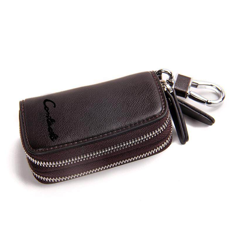 d547e869526 CONTACT'S Classic New Double Zip Men's Genuine Cow Leather Car Key Holder  Multifunction Housekeeper High Class