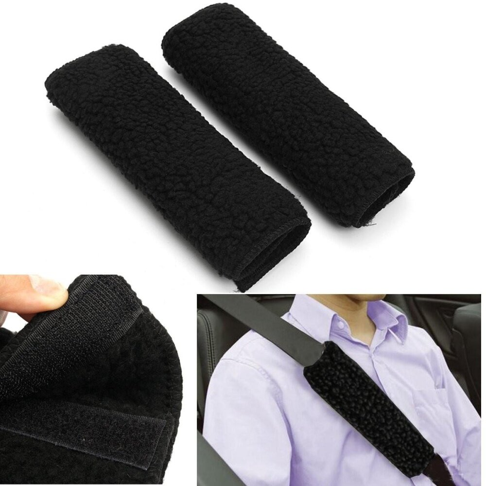 Premium Black Sheepskin Like Seat Belt Cover Shoulder Pad For Car-Truck-Auto By Moonbeam.