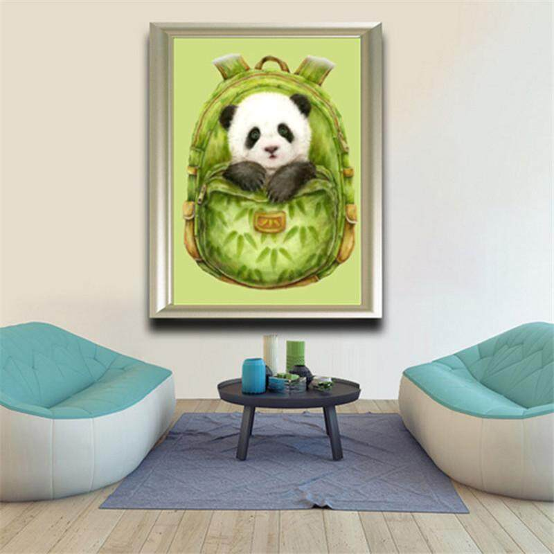 1 Set 3D Lukisan Berlian Jahitan Menyilang Panda dengan Tas Ransel Sulaman Berlian