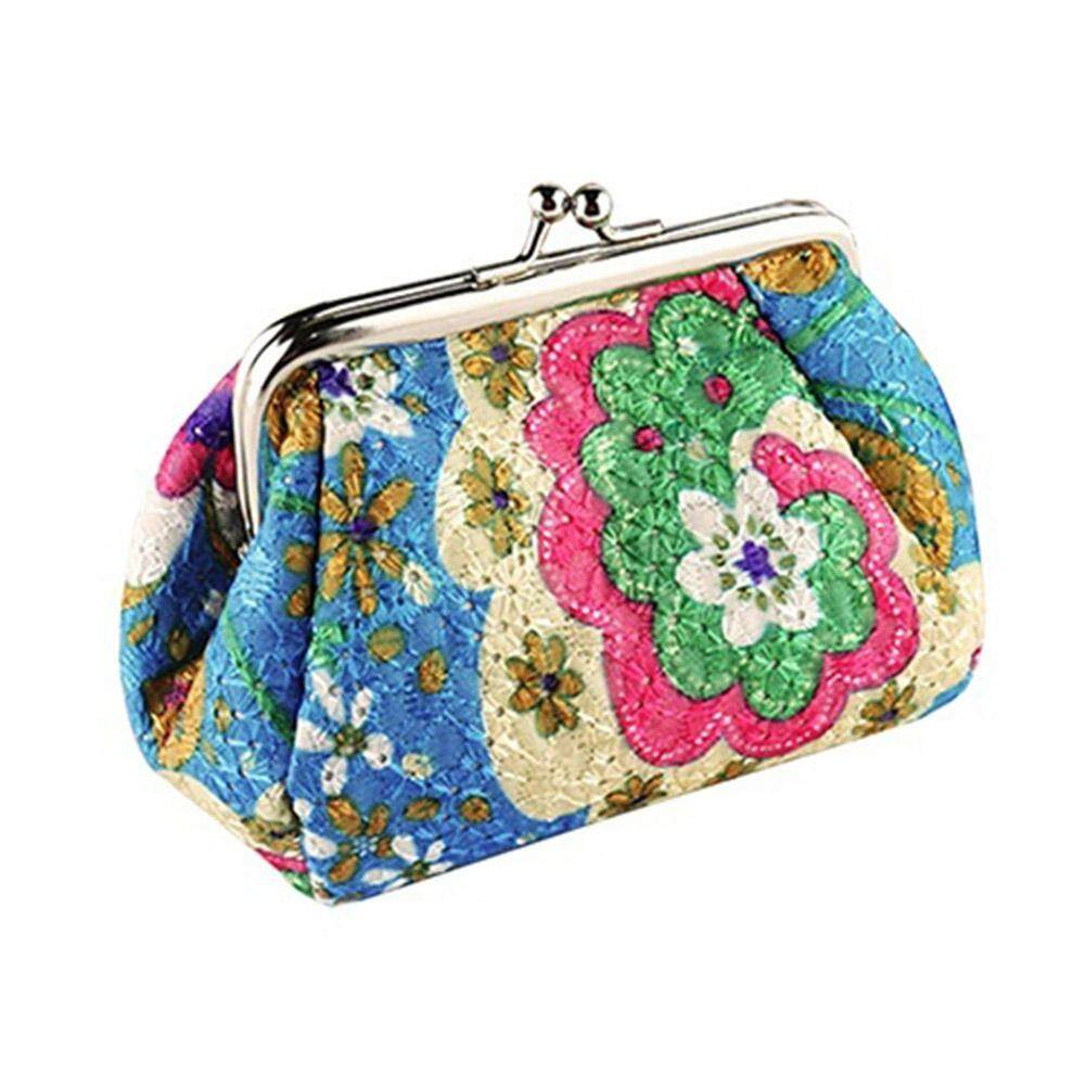 058b4f3c1 Women Fashion Cute Embroidered Case Wallet Card Keys Pouch Coin Purse  Vintage Flower Bags