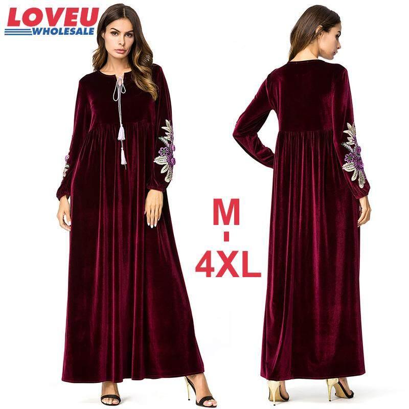 M-4XL Ukuran Plus Bordir Beludru Panjang Maxi Muslim Gaun Perempuan Kualitas Terbaik