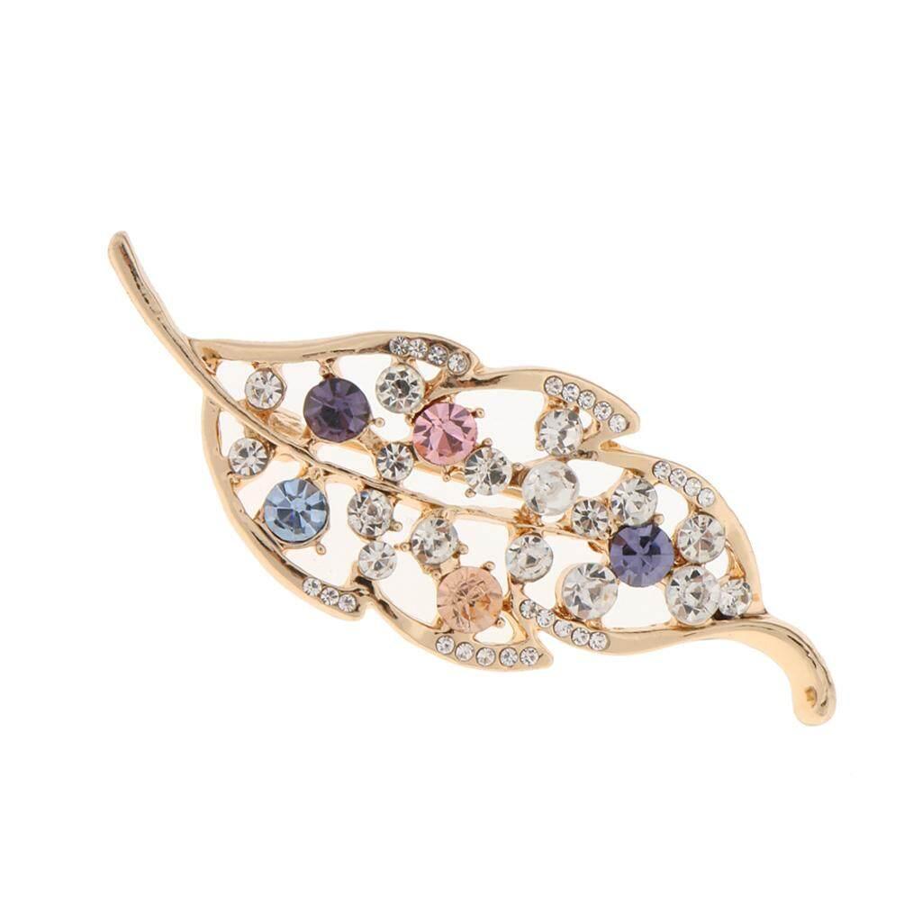 GuangquanStrade Retro Gold Full Rhinestone Crystal Leaf Wedding Bridal Bouquet Brooch Pin
