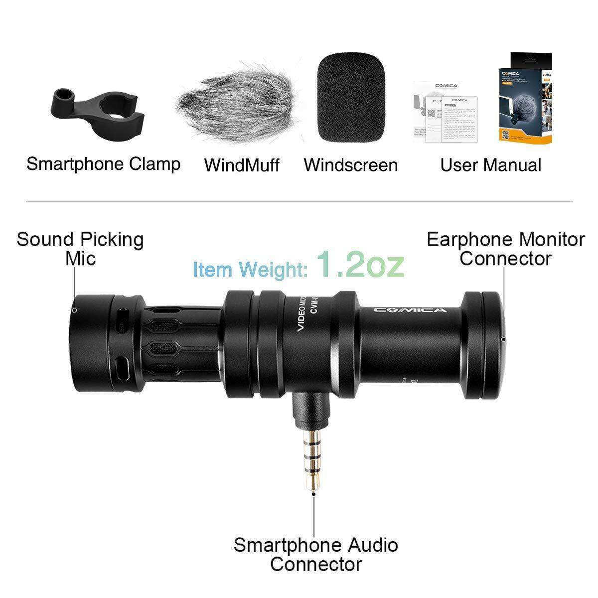 Comica CVM-VS08 Cardioid Condenser Directional Shotgun Microphone for iOS and Android Smartphone, Full Metal Aluminum Housing with Wind Muff