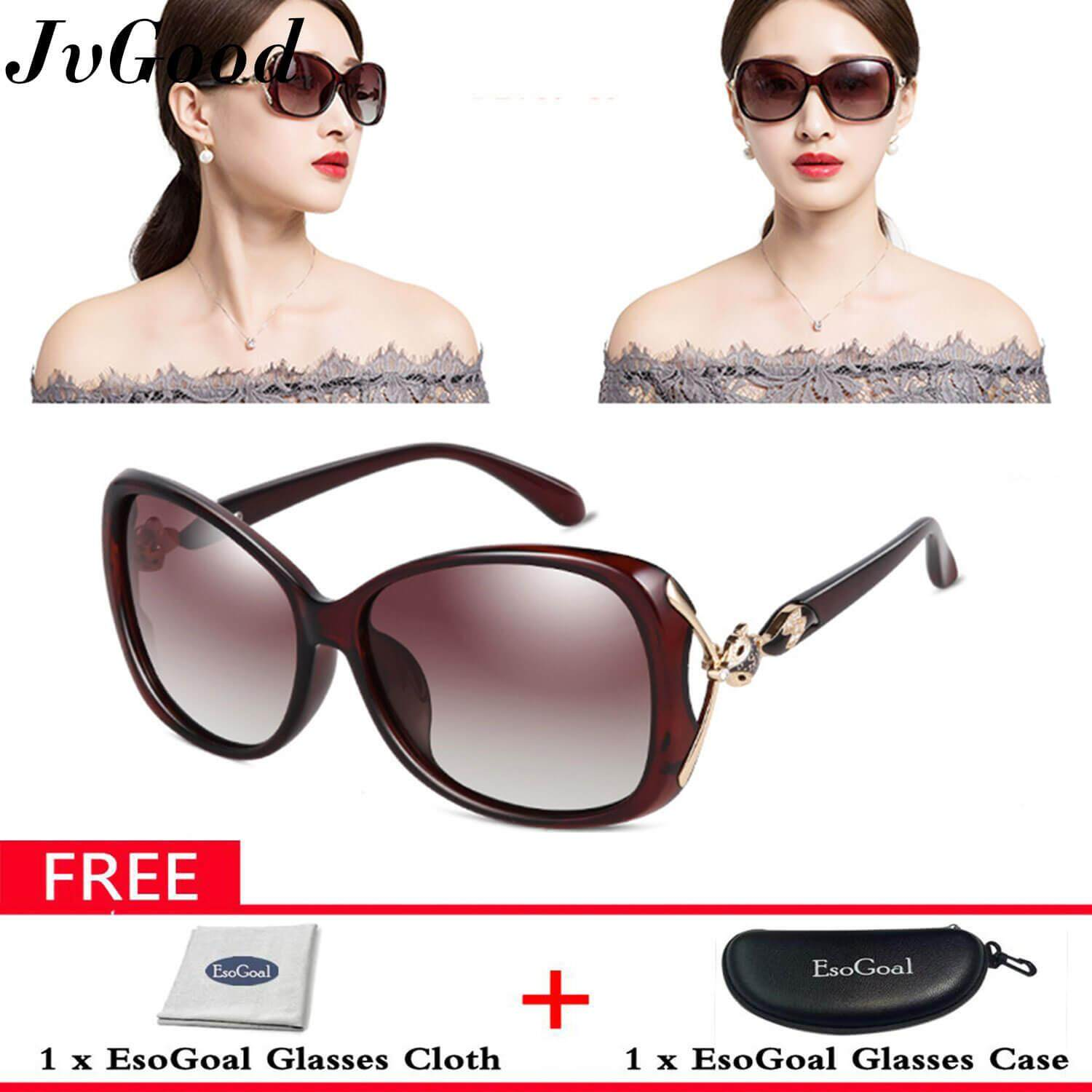 a080e6a0ae7e JvGood Women's Shades Oversized Polarized Fox Sunglasses 100% UV Protection  with Free Storage Box
