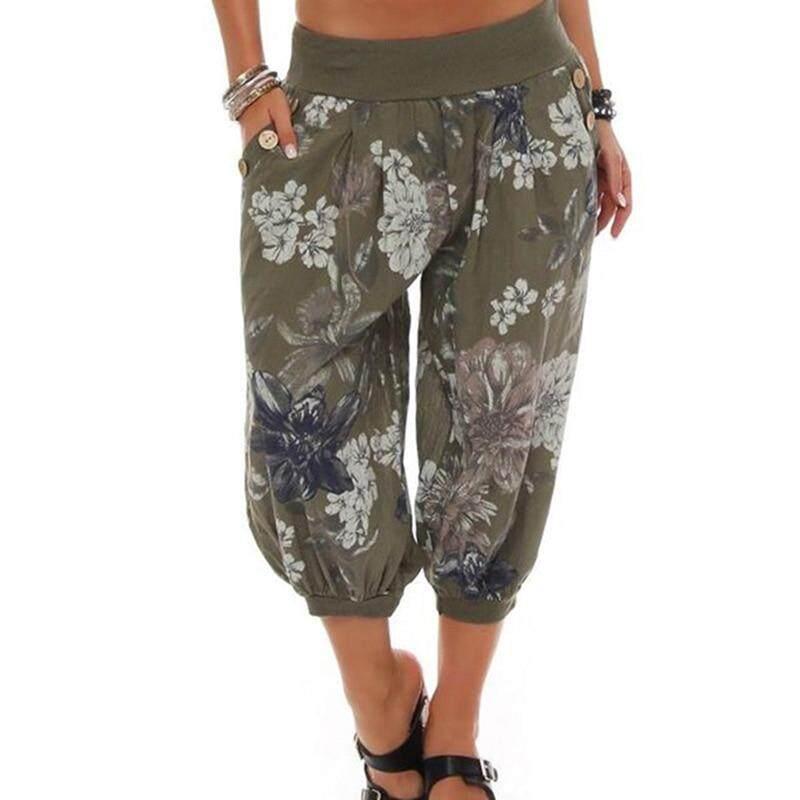 Celana Kasual Bunga Cetak Celana Kulot Wanita Baru Celana Panjang Musim Panas Calf-Length Pertengahan