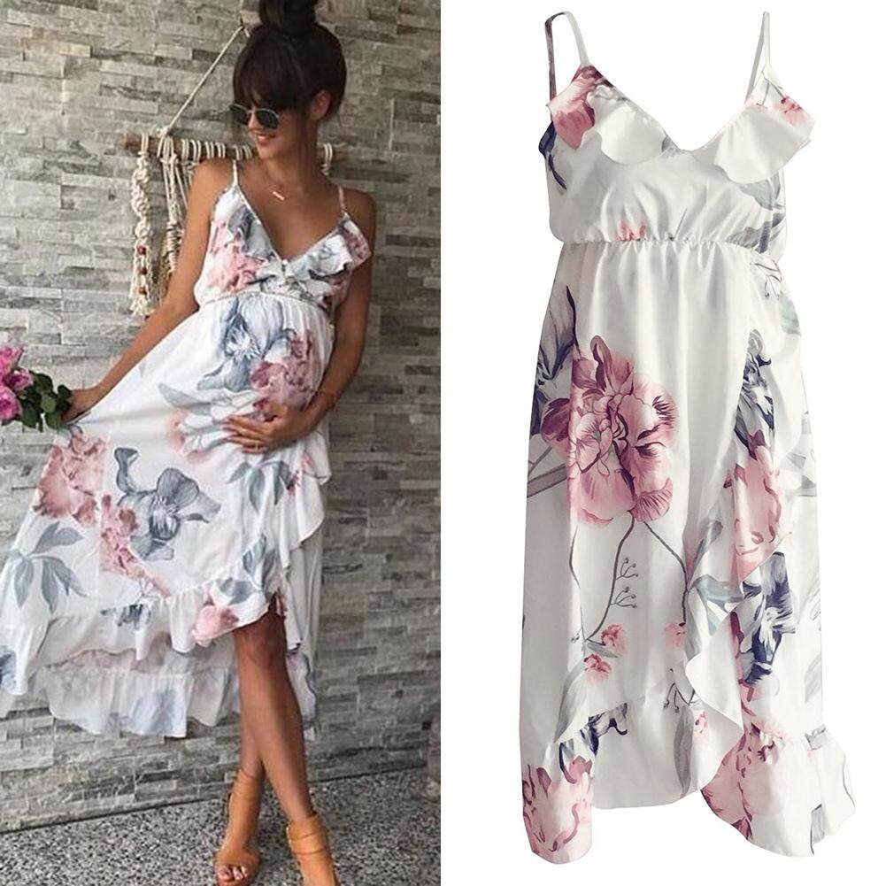 Women Mother Casual Floral Falbala Pregnant Dress For Maternity By Babycare Market.