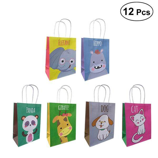 12pcs Cartoon Gift Bags Animals Paper Bag Candy Pouch Kids Birthday Party Decoration Wedding Favors