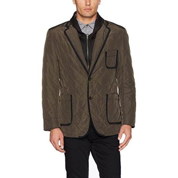 Tallia Mens Vetro Quilted Jacket with Removable Lining, Olive, XL - intl