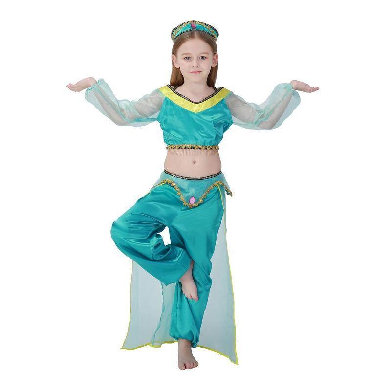 Halloween Hari Anak Hijau Arab Kostum Anak Perempuan Anak-anak Perut Gaun Tari Tari India Memakai Pakaian