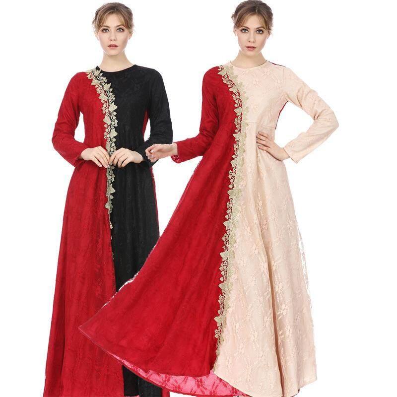 Muslim Gaun Perempuan Renda Jahitan Lengan Panjang Gamis Abaya Timur Tengah Gaun Gaun Dubai Fashion Vintage Jubah Panjang-Intl